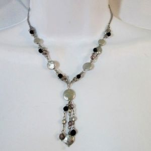 NEW LIA SOPHIA HAMMERED DISK Tripl Strand Necklace